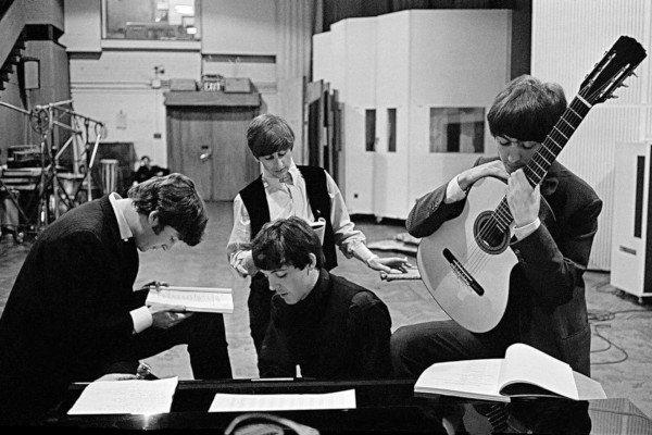 Beatles at the recording studio